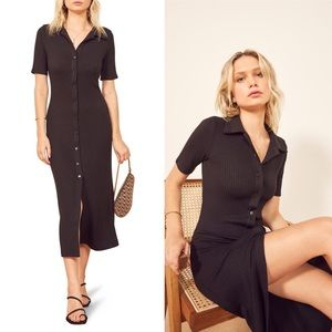 Reformation Betty midi ribbed button front dress